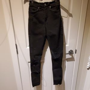 High waisted Ripped black Jeggings